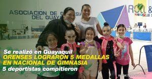 ORENSES LOGRARON 5 MEDALLAS EN NACIONAL DE GIMNASIA