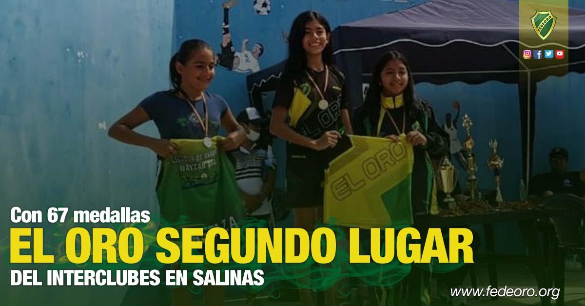 Con 67 medallas EL ORO SEGUNDO LUGAR DEL INTERCLUBES EN SALINAS