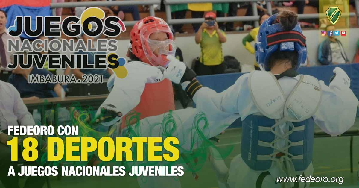 FEDEORO CON 18 DEPORTES A JUEGOS NACIONALES JUVENILES